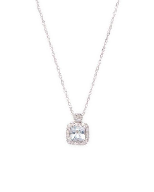 Rina Limor - Metallic 10k White Gold Cushion Cut Aquamarine & Diamond Pendant Necklace - Lyst