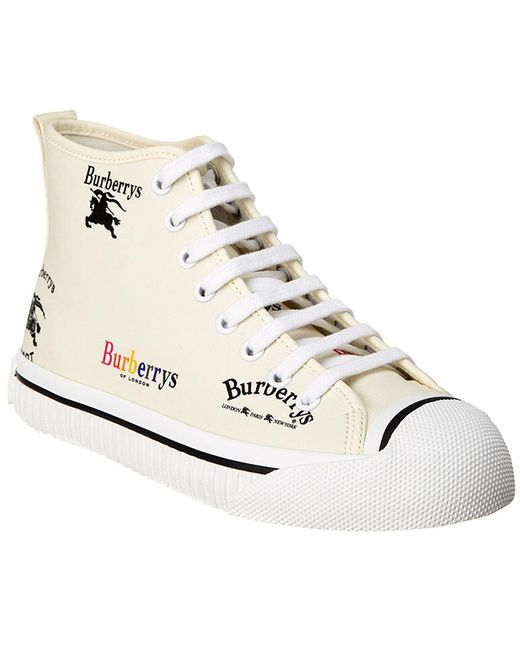 Burberry - White Kingly Archive Logo Canvas High-top Sneaker - Lyst