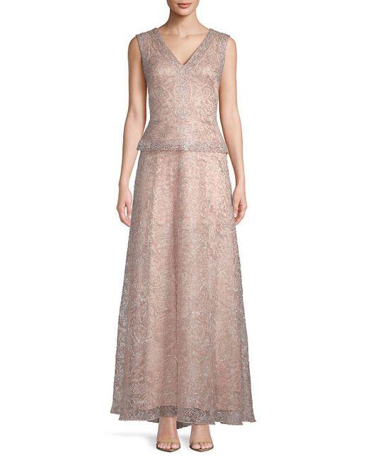 Tadashi Shoji - Pink Bead-embellished Tulle Gown - Lyst