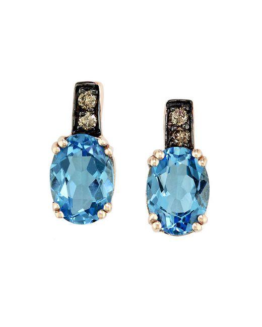 Effy   Bleu Rose 14 Kt. Rose Gold Blue Topaz And Diamond Earrings   Lyst