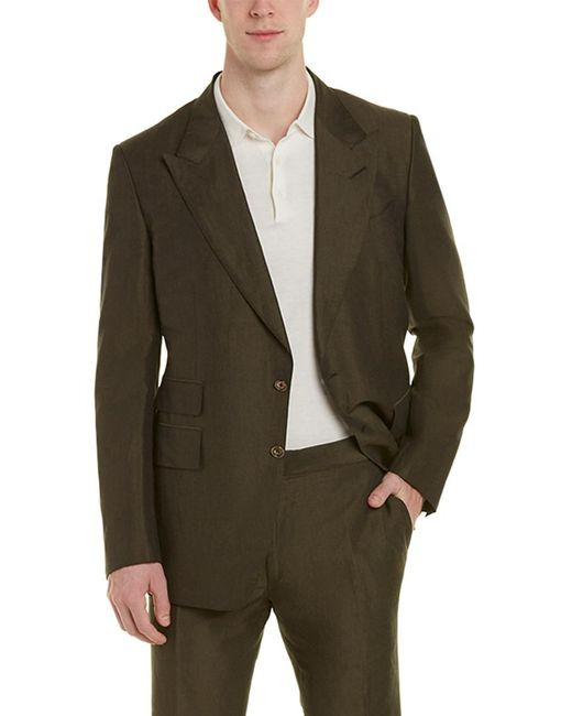 Tom Ford Green Shelton 2pc Linen & Silk-blend Suit With Flat Pant for men