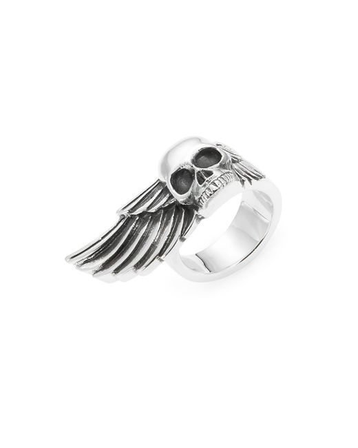 King Baby Studio | Metallic Skull & Wing Sterling Silver Ring for Men | Lyst