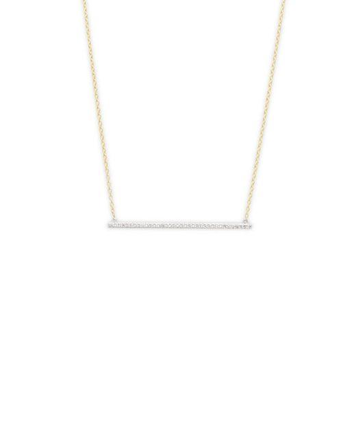 Danni - Metallic 14k Diamond Thin Bar Pendant Necklace - Lyst
