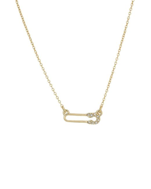 Rebecca Minkoff - Metallic Pave Safety Pin Delicate Necklace - Lyst