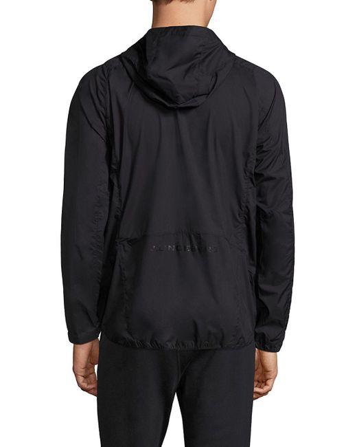 J.Lindeberg | Black Windbreaker Hooded Jacket for Men | Lyst
