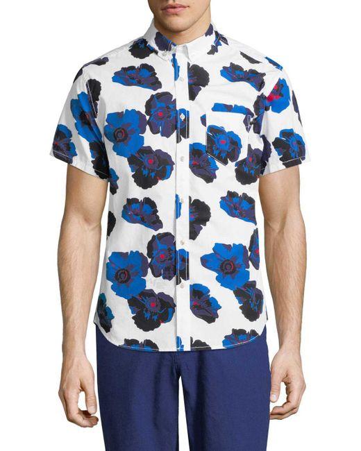 Life After Denim - Blue Poppy Cotton Sportshirt for Men - Lyst