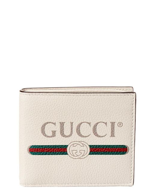 2c8d5224eaa Gucci Print Leather Bifold Wallet in White for Men - Save ...