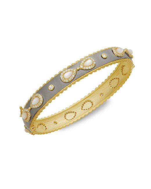 Freida Rothman - Metallic Mother-of-pearl & Crystal Hinged Bracelet - Lyst