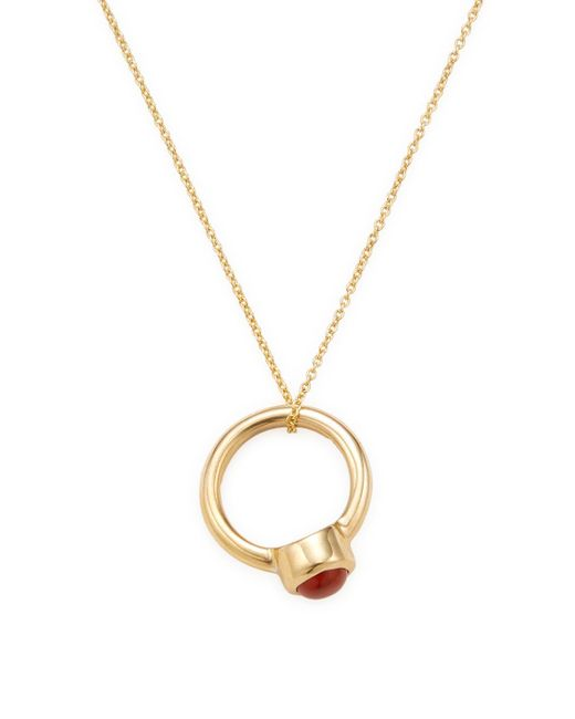 Sydney Evan - Metallic 14k Yellow Gold Red Bloodstone Birthstone Ring Pendant Necklace - Lyst