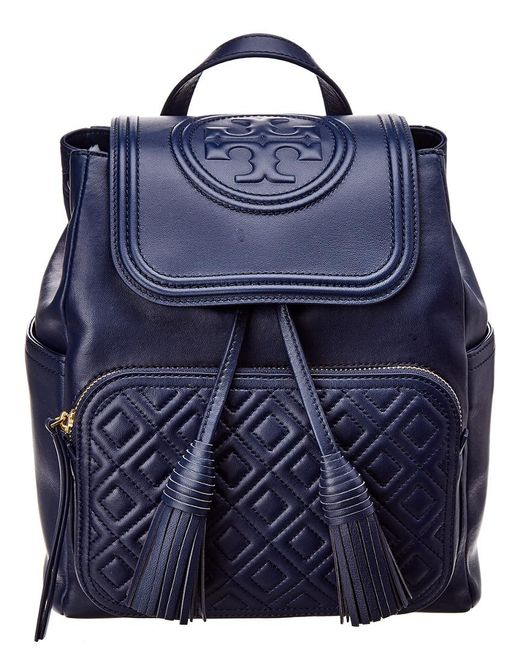 067e893ef4b2 Tory Burch - Blue Fleming Leather Backpack - Lyst ...