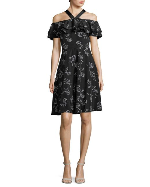 Armani Exchange - Black Cold-shoulder Ruffle Dress - Lyst