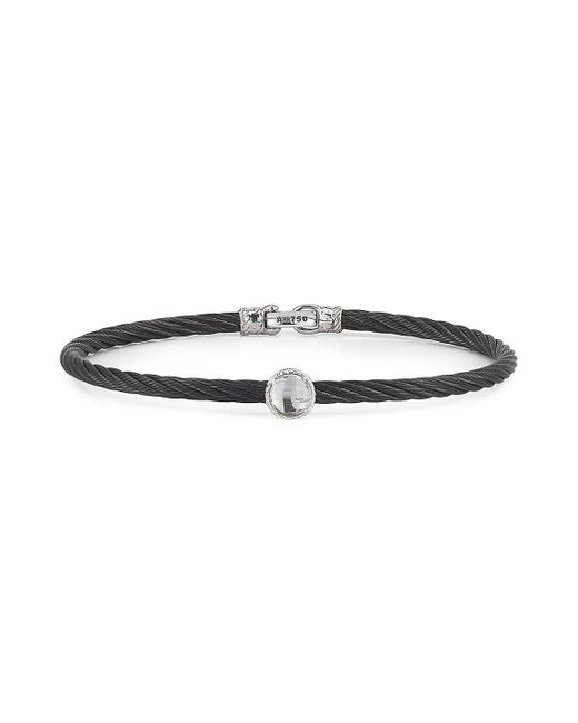 Alor - Black Noir Stainless Steel And 18k White Gold Bangle Bracelet for Men - Lyst