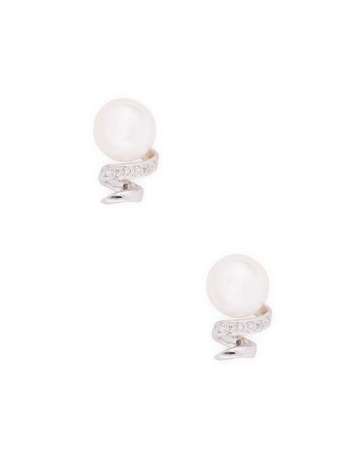 Belpearl - 14k White Gold, 0.06 Total Ct. Diamond, & Akoya Pearl Earrings - Lyst