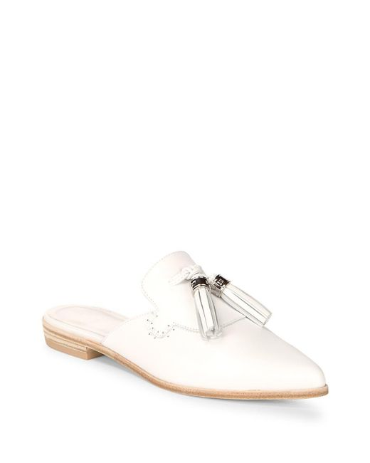 Stuart Weitzman - White Slidealong Leather Tassle Mules - Lyst