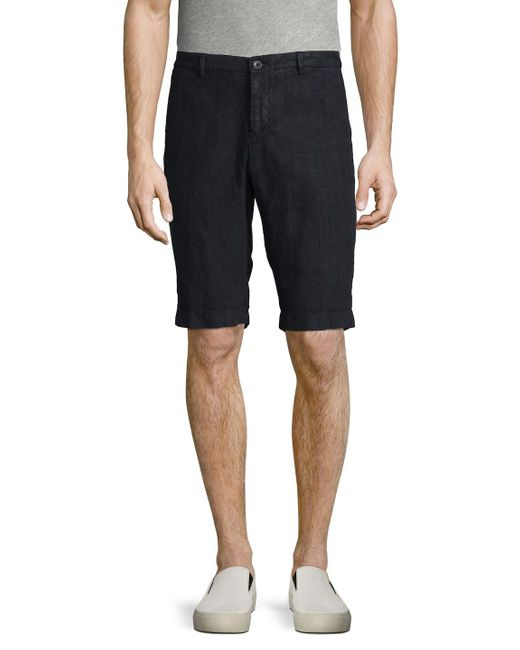 Etro - Blue Solid Linen Shorts for Men - Lyst