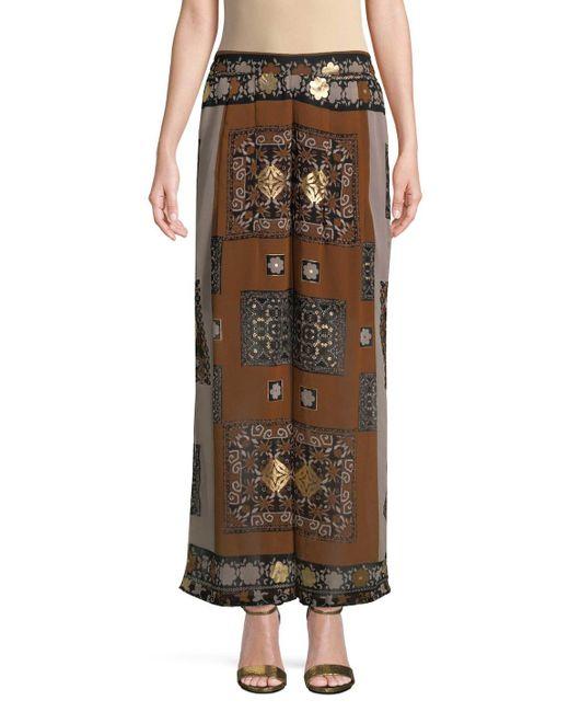 Raga - Brown Sonder Wide Leg Printed Pant - Lyst