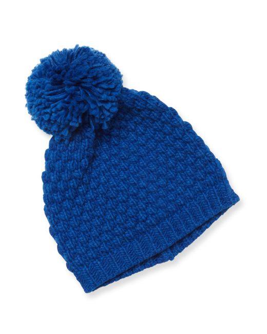 Portolano - Blue Ribbed Pom Hat - Lyst