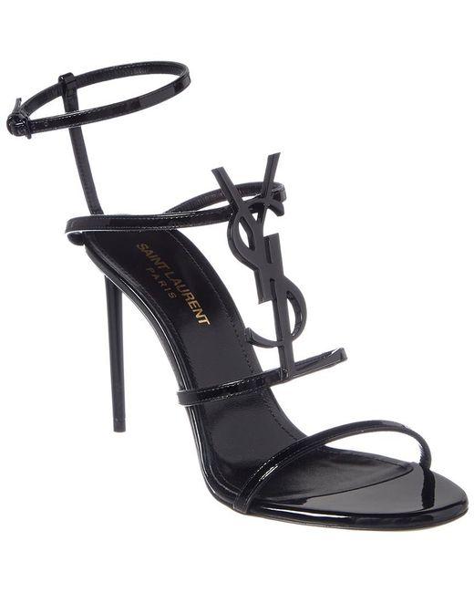 Saint Laurent - Black Cassandra Patent Sandal - Lyst