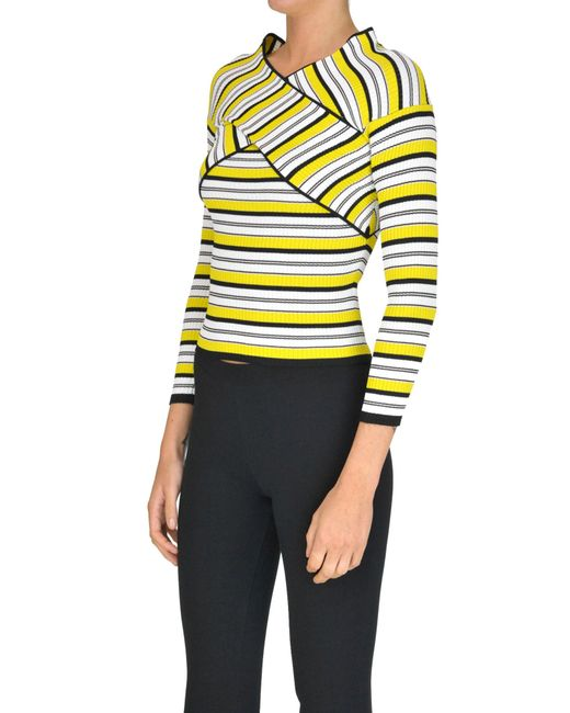Pepe In Yellow Knit Top Lyst Patrizia Ribbed 6mYfIb7gyv