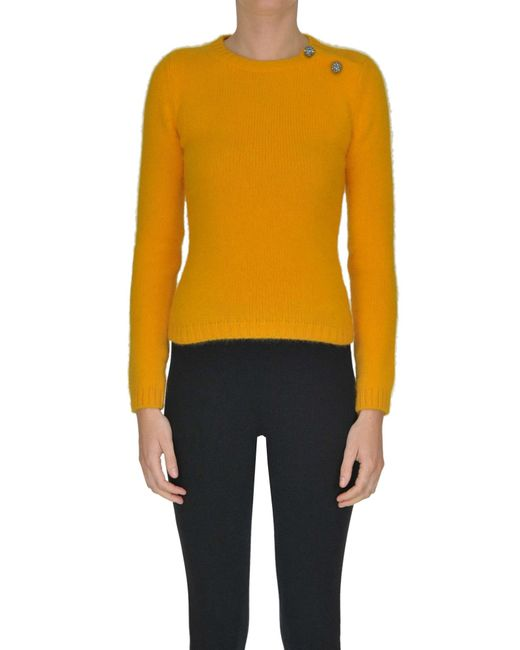 N°21 - Yellow Cropped Angora Wool-blend Pullover - Lyst