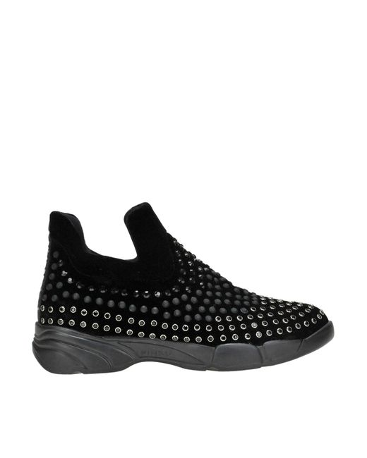 Pinko - Black Gem Embellished Slip-on Sneakers - Lyst