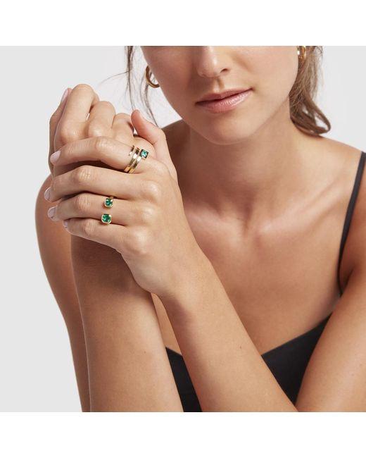 Jemma Wynne Multicolor Open Emerald Bezel Ring
