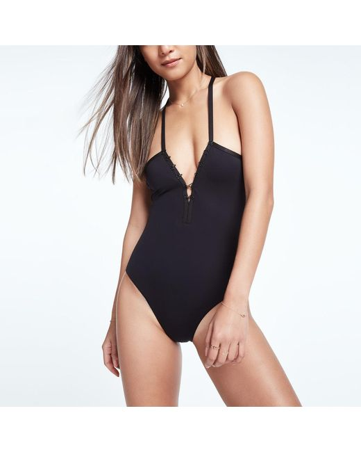 451be6a9279 Lyst - DOS GARDENIAS Bella Hook   Eye V-neck One-piece Swimsuit in Black