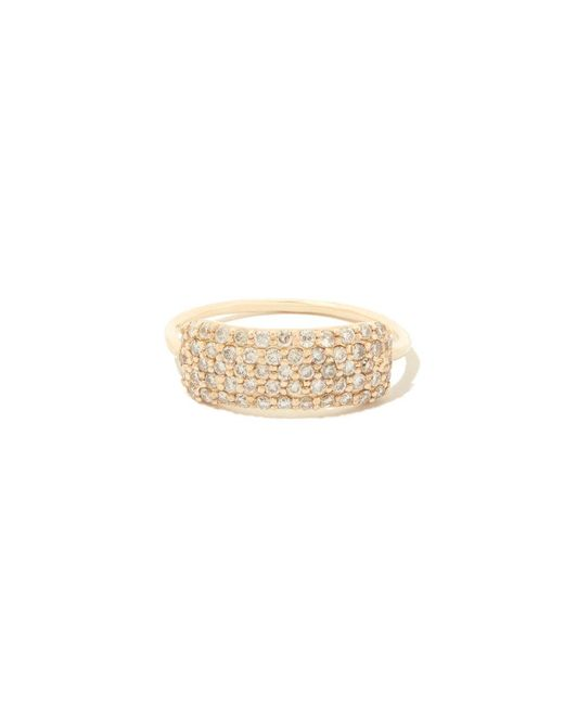 Sophie Ratner - Metallic Diamond Studded Yellow-gold Tag Ring - Lyst