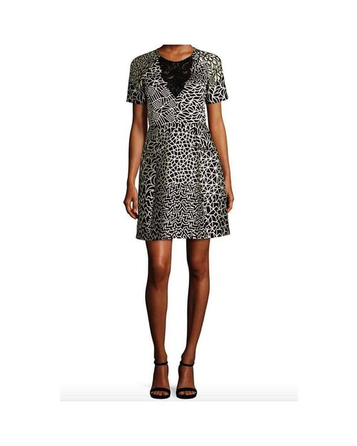 Yigal Azrouël | Black Printed Short Sleeve Dress | Lyst