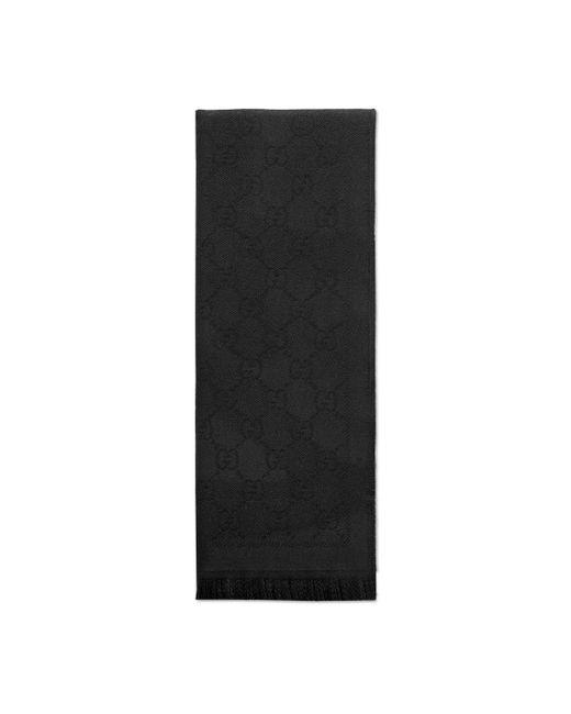 Gucci - Black Gg Jacquard Pattern Knit Scarf - Lyst