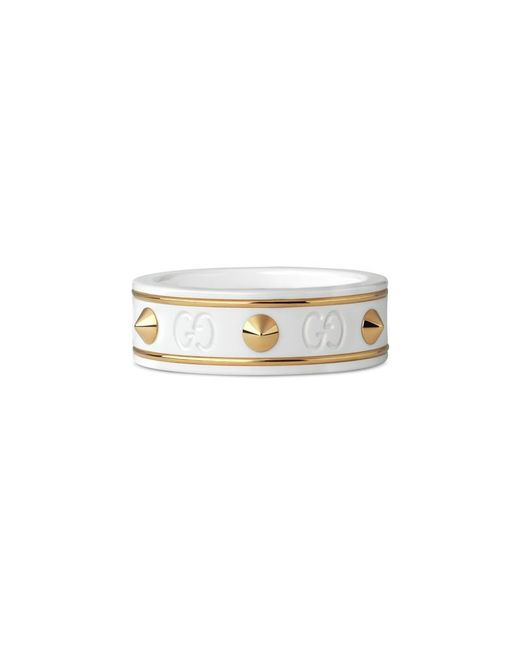 Gucci | Metallic Icon Ring With Studs In Yellow Gold | Lyst