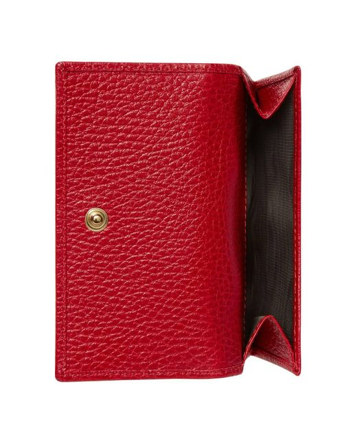 fbf1229cb2c0 Lyst - Gucci Leather French Flap Wallet in Red - Save 5%