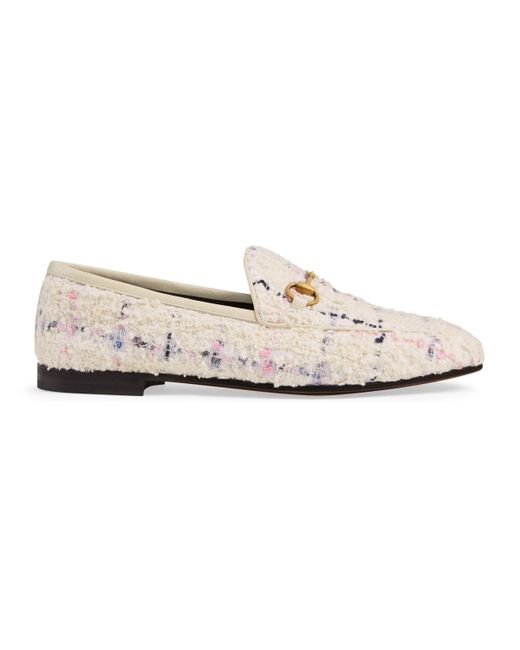 8309b6242bc Gucci - White Jordaan Tweed Loafer - Lyst ...