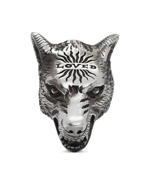 Gucci | Metallic Anger Forest Wolf Head Ring In Silver for Men | Lyst
