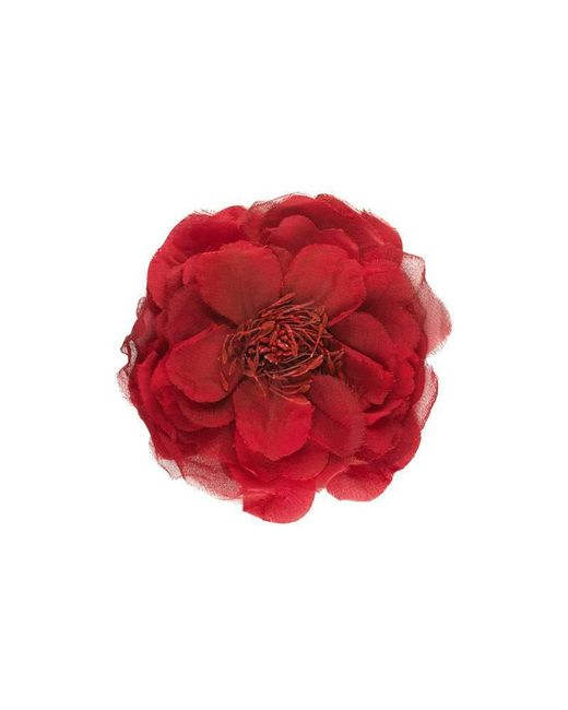 Gucci - Red Flower Pin In Silk - Lyst