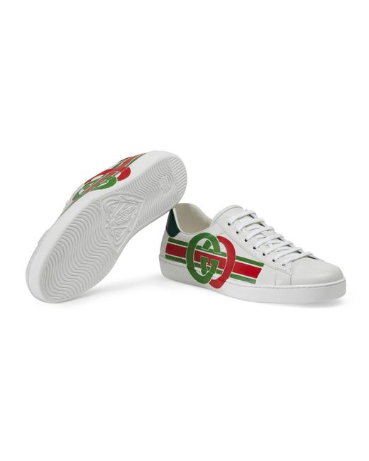80c07f413 ... Lyst Gucci - White Men's Ace Sneaker With Interlocking G for Men ...