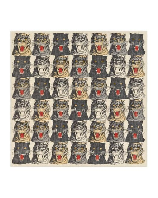 Gucci - White Tiger Face Print Wool Silk Shawl - Lyst