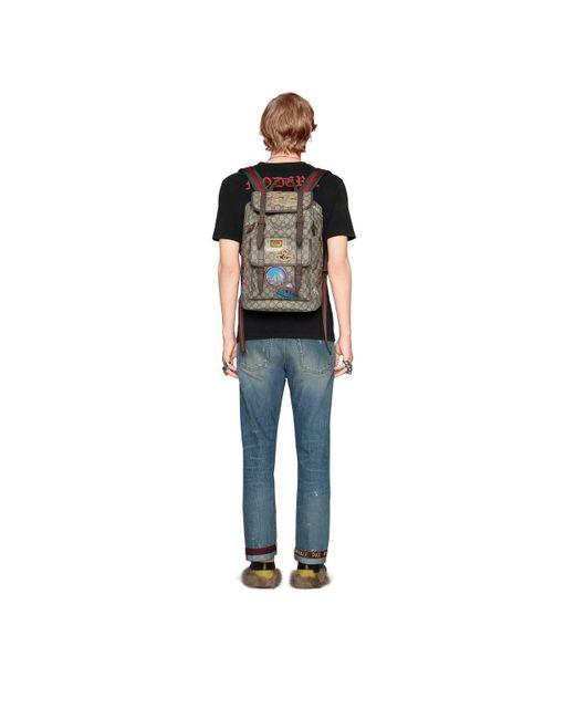6ebe28d02517da ... Gucci - Natural Courrier Soft GG Supreme Backpack for Men - Lyst ...