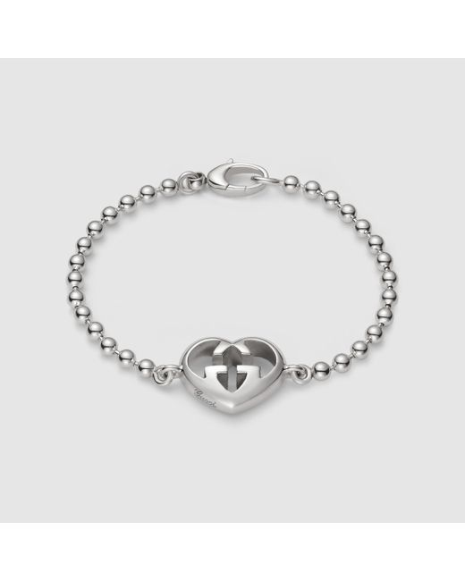 Gucci | Metallic Bracelet With Heart Charm | Lyst
