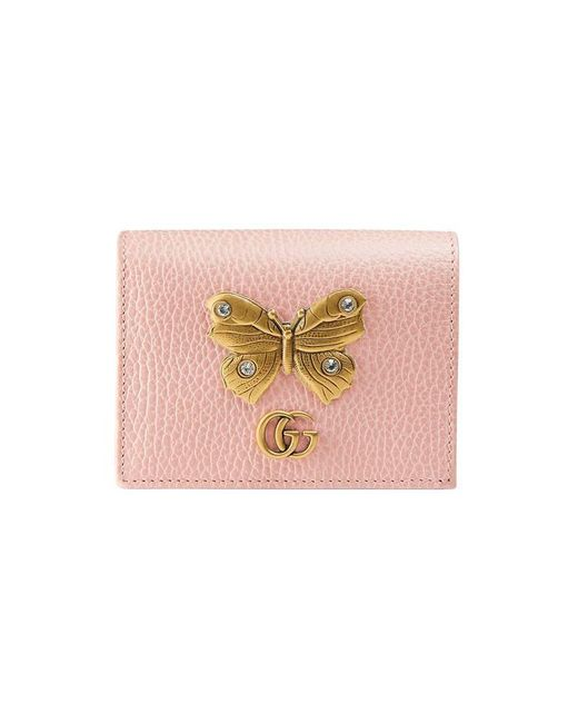 Gucci - Pink Leather Card Case With Butterfly - Lyst