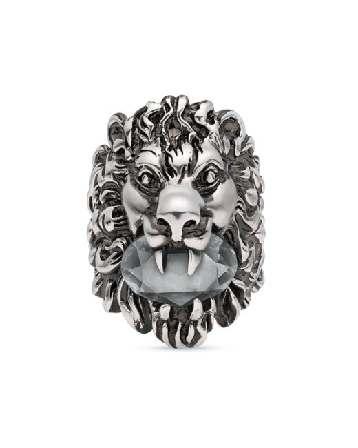 Gucci - Multicolor Lion Head Ring With Crystal - Lyst