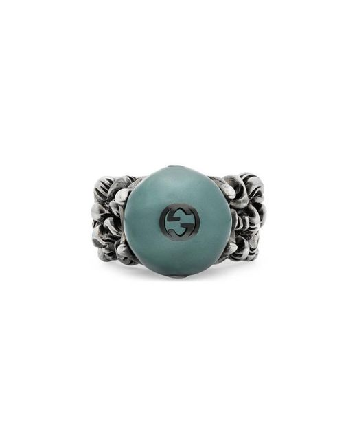Gucci | Textured Ring With Black Glass Pearl | Lyst