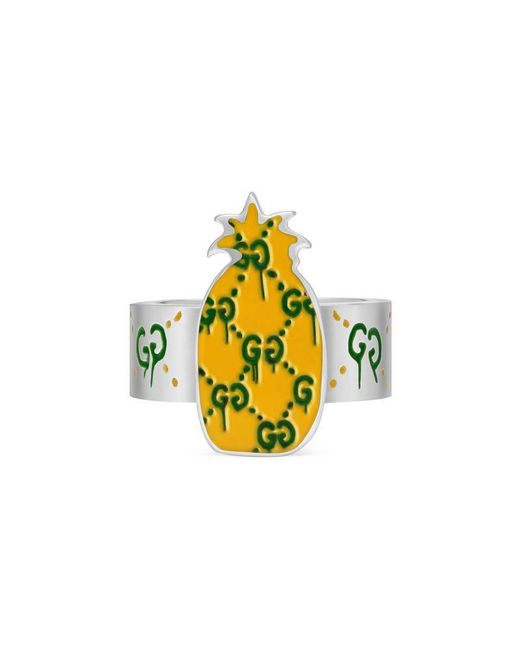 Gucci - Metallic Ghost Pineapple Ring In Silver And Enamel - Lyst