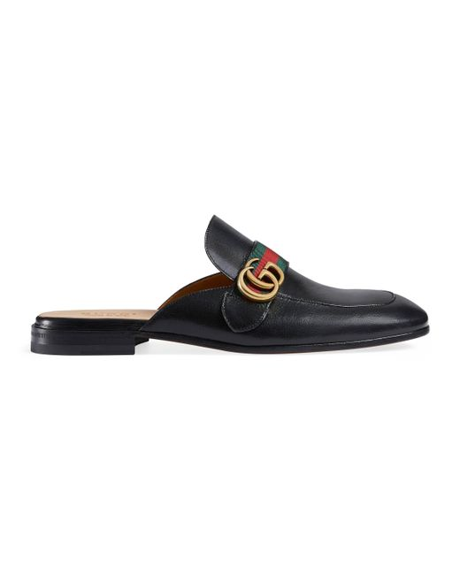 Gucci - Black Slipper Princetown de Piel con Doble G for Men - Lyst