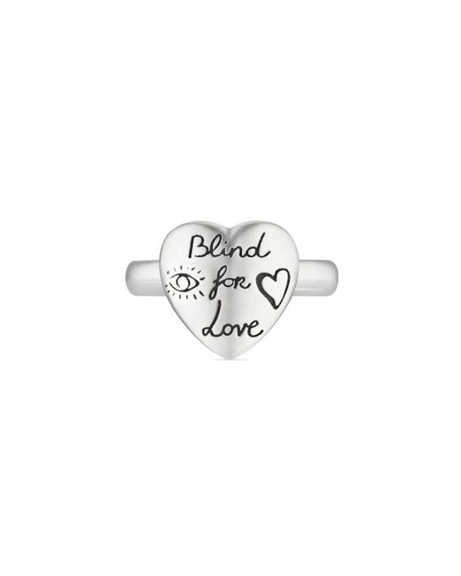 Gucci - Metallic Blind For Love Ring In Silver - Lyst