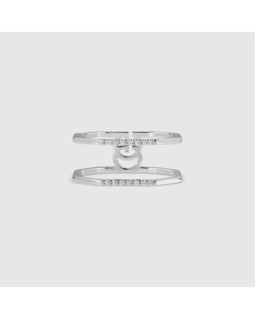 Gucci | Metallic White Gold And Diamond Ring | Lyst