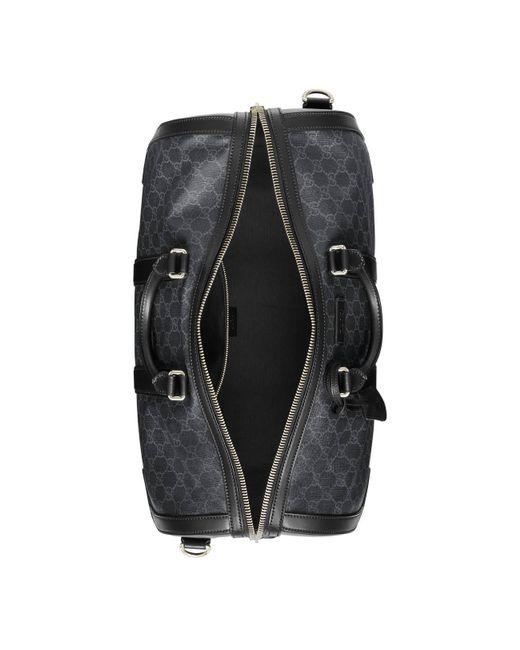 ffa5db3428e ... Gucci - Gray Soft GG Supreme Carry-on Duffle Black for Men - Lyst ...