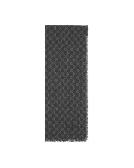 Gucci - Black Étole en laine GG à bande Web for Men - Lyst