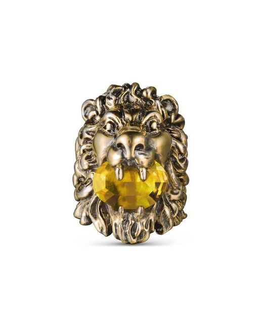 Gucci | Metallic Lion Head Ring With Crystal | Lyst