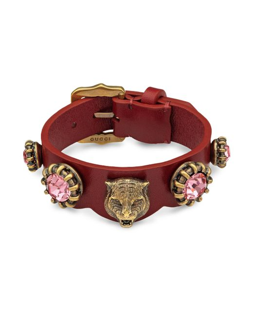 Gucci - Red Bracelet In Leather - Lyst